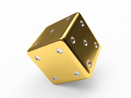 rolling up: Golden dice cube on white background