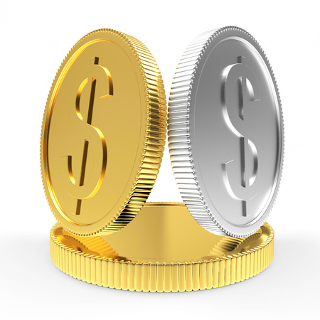 silver coins: Golden and silver coins on a pedestal isolated on a white background