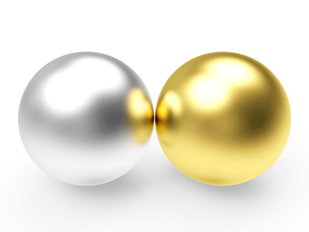 golden ball: Two shining silver and golden balls isolated on white background Stock Photo