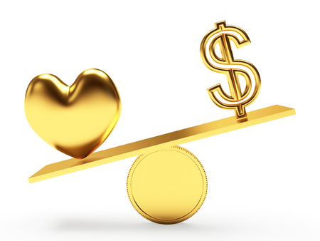 venality: Golden heart and dollar sign on scales isolated on white background