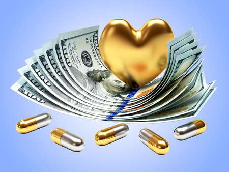 high cost: Golden heart and medical capsules on dollar bills. High cost of medicines concept