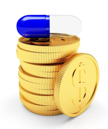 high cost of healthcare: Transparent pill on a stack of golden coins isolated on a white background