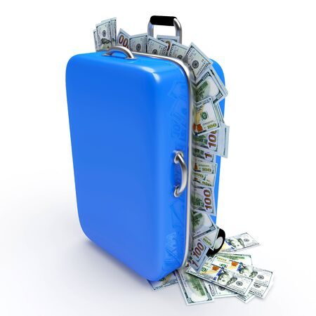 wealth concept: Blue travel suitcase full of dollar bills isolated on white background