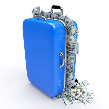 cash money: maleta de viaje azul lleno de billetes de un dólar aislado en el fondo blanco