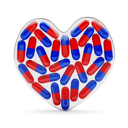 glass heart: Fragile glass heart full of pills isolated on white background