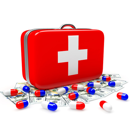 First aid kit with medical capsule and dollar bills isolated on white background