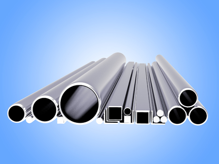 diameters: Pile of metallic pipes of various diameters and shapes on blue background