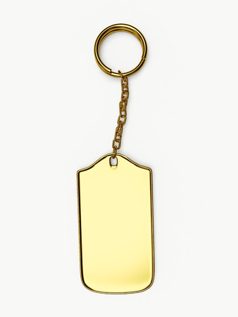 golden key: Golden key ring isolated on white background