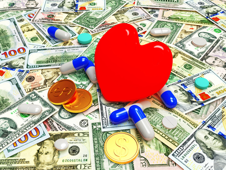 red bills: Red heart with pills on background of dollar bills.