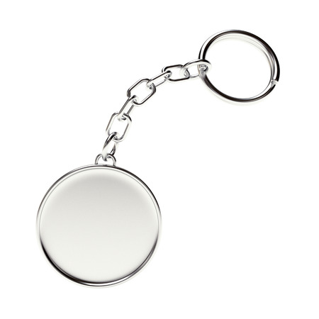 Blank round metal key chain with key ring isolated on white background Reklamní fotografie