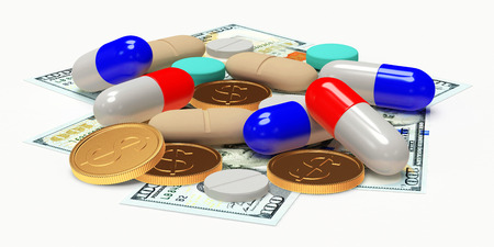 high cost of healthcare: Colorful pills and money isolated on white. High costs of expensive medication concept. Stock Photo