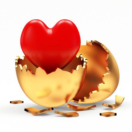 gold egg: Golden Easter eggs with heart inside isolated on white background