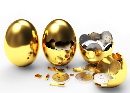 multiplying: Multiplying money concept. Silver coins hatching from golden eggs process isolated on a white background Stock Photo