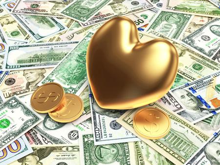 venality: Golden heart on background of dollar bills Stock Photo