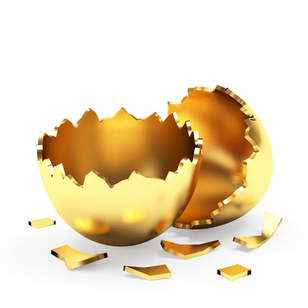 broken egg: Broken golden Easter egg isolated on a white background