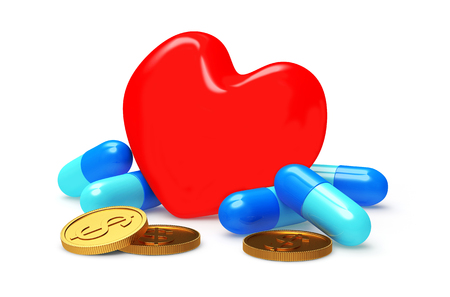 high cost of healthcare: Red heart with pills and coins on white. Heart diseases.
