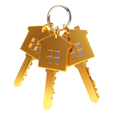 Bunch of three golden house-shape keys on a key ring isolated on white background
