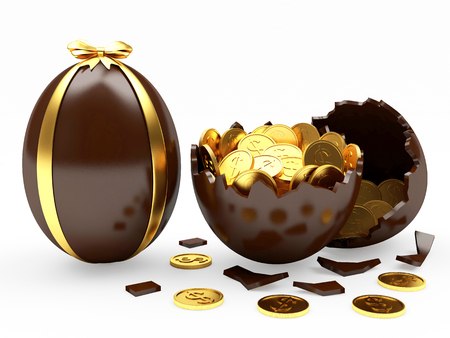 gold egg: Easter surprise. Chocolate Easter egg decorated ribbon and broken egg with coins inside isolated on white background Stock Photo