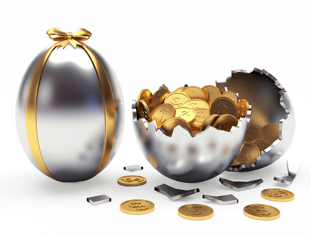 gold egg: Easter surprise. Silver Easter egg decorated ribbon and broken egg with coins isolated on white background
