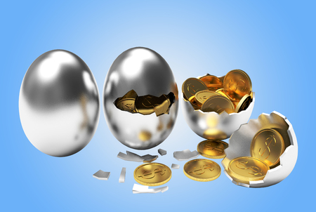 multiplying: Multiplying money concept. Golden coins hatching from silver eggs process on a blue background