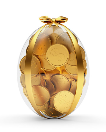 Easter gift. Glass Easter egg full of golden coins isolated on white background