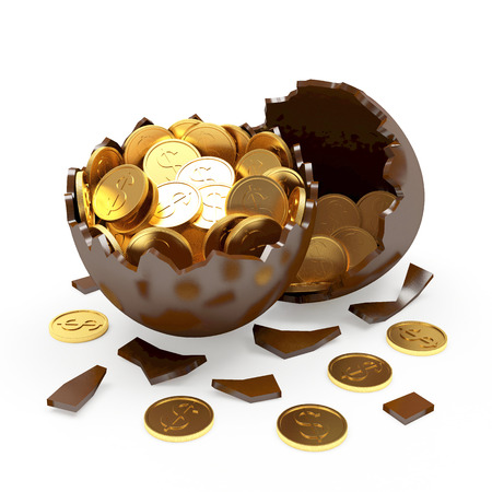 Chocolate broken egg full of golden coins isolated on a white background