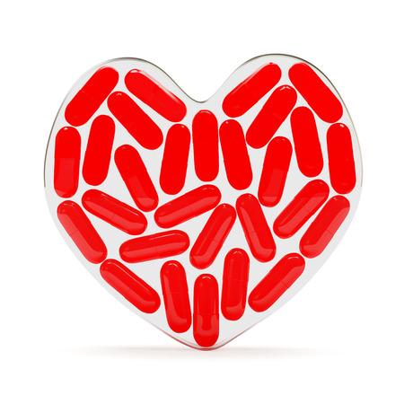 glass heart: Fragile glass heart full of red pills isolated on white background