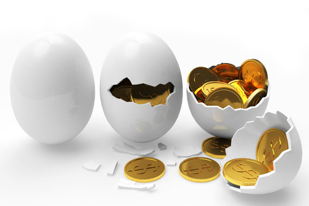 multiplying: Multiplying money concept. Golden coins hatching from white eggs process isolated on a white background
