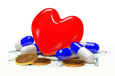 high cost of healthcare: Red heart with pills and money on white. Heart diseases.