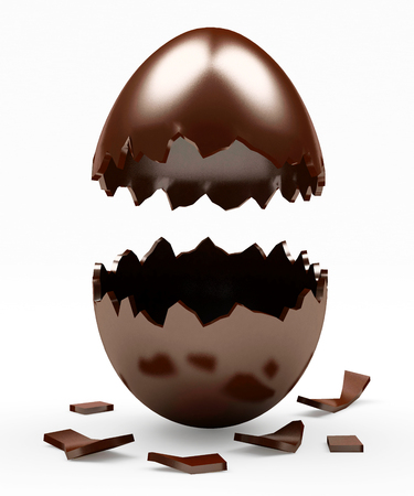 chocolate egg: Broken Chocolate Easter egg isolated on a white background