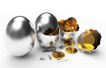 multiplying: Multiplying money concept. Golden coins hatching from silver eggs process isolated on a white background Stock Photo