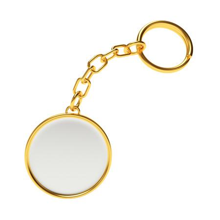 llaves: cadena de oro alrededor de la llave en bruto con llavero aisladas sobre fondo blanco