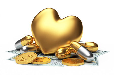 Golden heart with pills and money on white. Heart diseases.