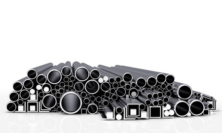 diameters: Round, square metal tubes and pipes of different diameters and shapes on a white