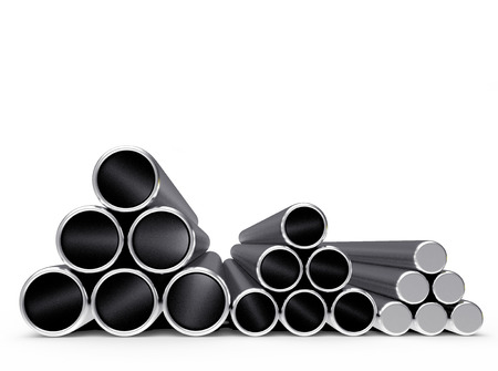 diameters: Metal pipes of different diameters stacked in a pyramids isolated on white background