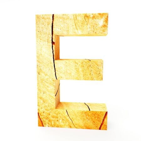 cabinet maker: Wooden letter E isolated on white background