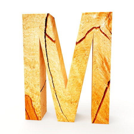 cabinet maker: Wooden letter M isolated on white background