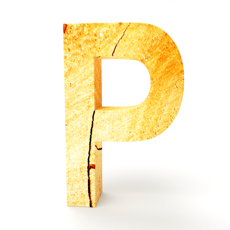 cabinet maker: Wooden letter P isolated on white background