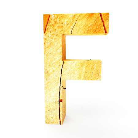 cabinet maker: Wooden letter F isolated on white background