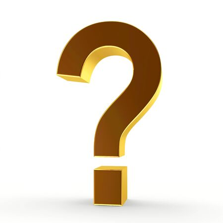 inquiring: Golden question mark on a white isolated background