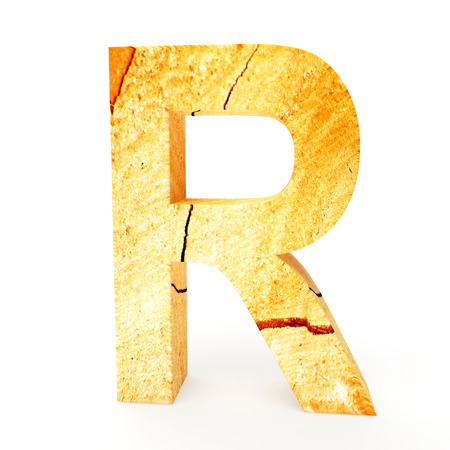 cabinet maker: Wooden letter R isolated on white background