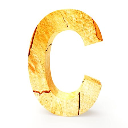 cabinet maker: Wooden letter C isolated on white background Stock Photo
