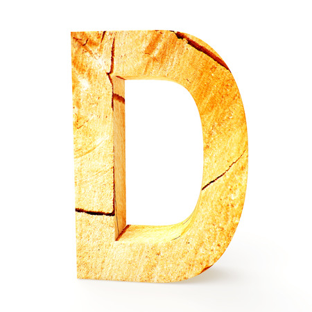 cabinet maker: Wooden letter D isolated on white background