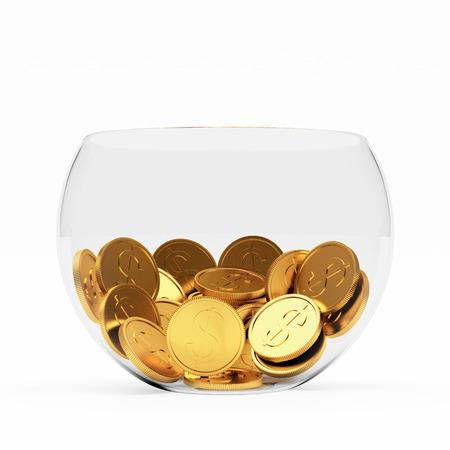 bol en verre avec des pièces d'or à l'intérieur isolé sur fond blanc