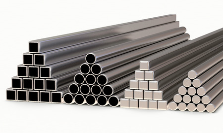 diameters: Metal pipes of different diameters and shapes stacked in a pyramids isolated on white background