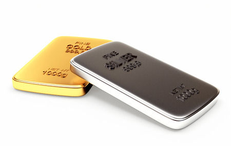 silver bullion: Banking concept. Golden and silver flat bars isolated on white background