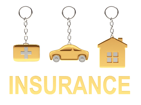 first aid kit key: Set of golden keychains in the form of the house, car and medical suitcase and word INSURANCE isolated on white background. 3d Rendering.