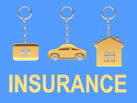 first aid kit key: Set of golden keychains in the form of the house, car and medical suitcase and word INSURANCE on blue background. 3d illustration.