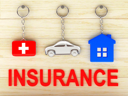 first aid kit key: Set of colorful keychains in the form of the house, car and medical suitcase and red word INSURANCE on wooden background. 3d illustration.