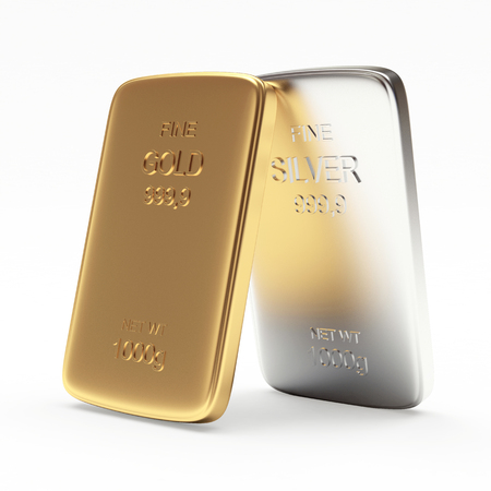 silver bullion: Banking concept. Golden and silver flat bars isolated on white background. 3d illustration
